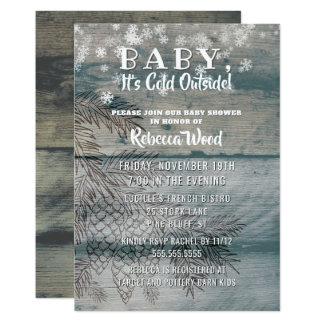 Baby Its Cold Outside Rustic Wood Winter Shower Card