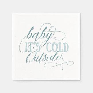 Baby It's Cold Outside Script Quote Napkin Blue Disposable Napkins