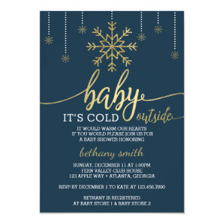 Baby It's Cold Outside Shower Invite Faux Glitter