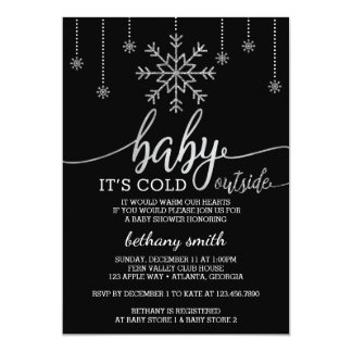 Baby It's Cold Outside Shower Invite, Faux Glitter Card
