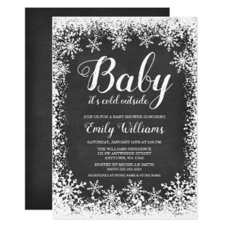 Baby It's Cold Outside Snow Winter Baby Shower Card
