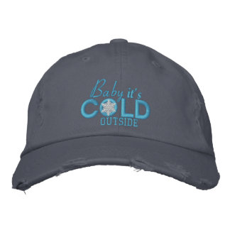 Baby It's Cold Outside Snowflake Baby Blue Embroidered Cap