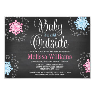 Baby It's Cold Outside Snowflakes Baby Shower 11 Cm X 16 Cm Invitation Card