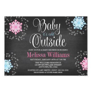 Baby It's Cold Outside Snowflakes Baby Shower 13 Cm X 18 Cm Invitation Card
