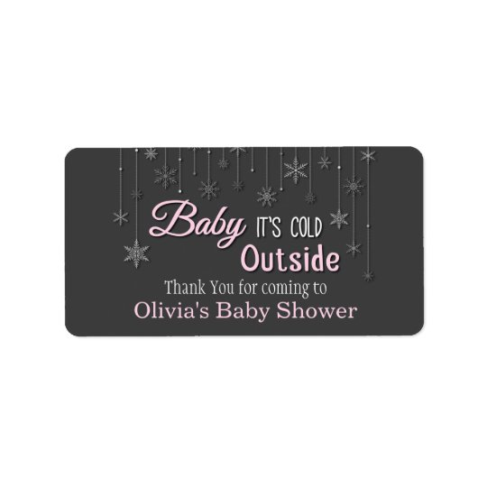 Baby Its Cold Outside Snowflakes Baby Shower Label Address Label