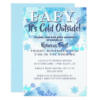 Baby Its Cold Outside Snowflakes Blue Shower Card