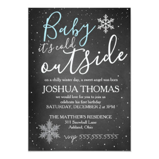 Baby It's Cold Outside Winter Birthday BOY Card
