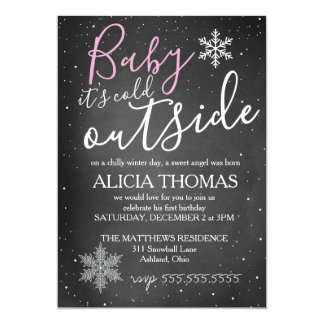 Baby It's Cold Outside Winter Birthday GIRL Card