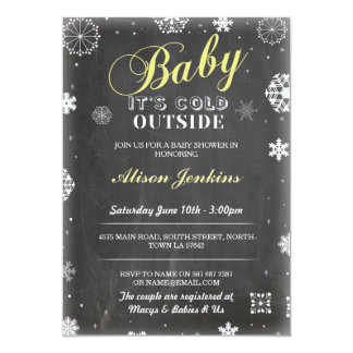 Baby It's Cold Outside Yellow Baby Shower Invite