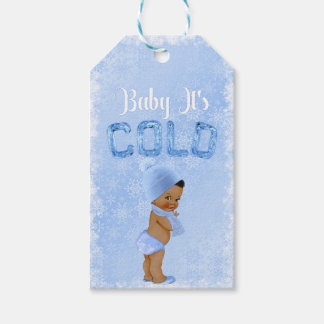 Baby It's Cold Snowflake Blue Ethnic Boy Shower Gift Tags