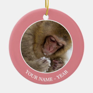 Baby Japanese Macaque | Snow Monkey Christmas Ornament