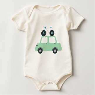 Baby Jersey Bodysuit bicycle on car