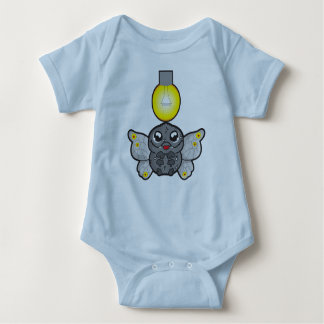 Baby Jersey Bodysuit, Light Blue, with moth Baby Bodysuit