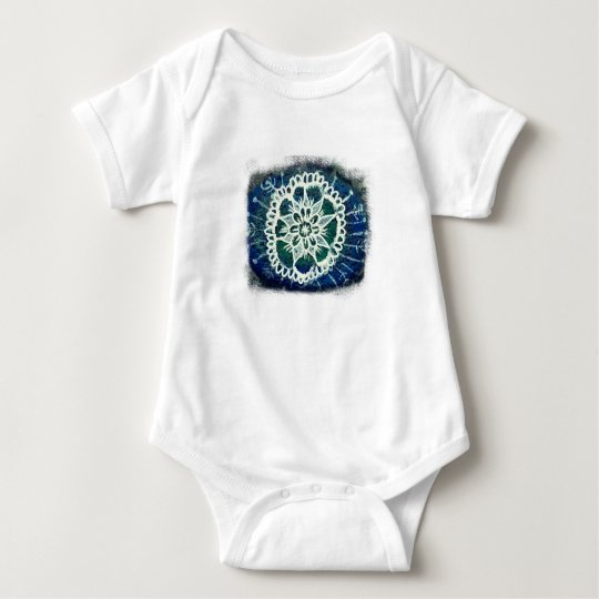 Baby Jersey Bodysuit White mandala blue background