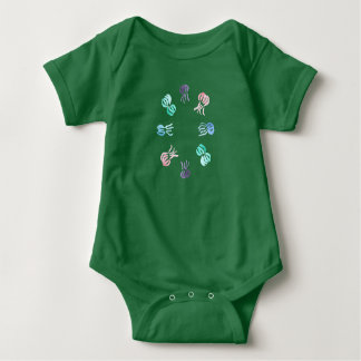 Baby jersey bodysuit with jellyfishes