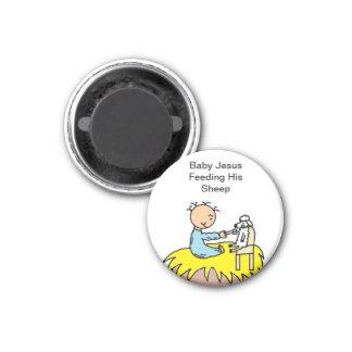 Baby Jesus Feeding His Sheep Refrigerator Magnets
