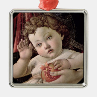 Baby Jesus Holding Pomegranate Silver-Colored Square Decoration
