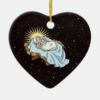 baby jesus in manger christmas ornament