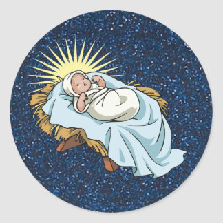 baby jesus in manger round sticker