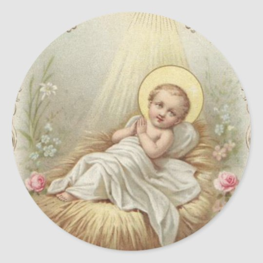 Baby Jesus in the Manger Classic Round Sticker