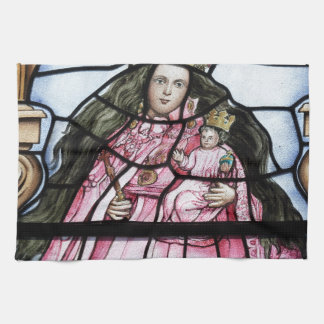 Baby Jesus nativity stained glass window Tea Towel