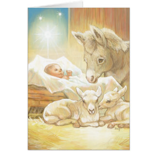 Baby Jesus Nativity with Lambs and Donkey Greeting Card