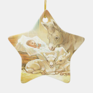 Baby Jesus Nativity with Lambs and Donkey Christmas Ornament