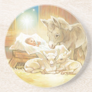 Baby Jesus Nativity with Lambs and Donkey Coaster