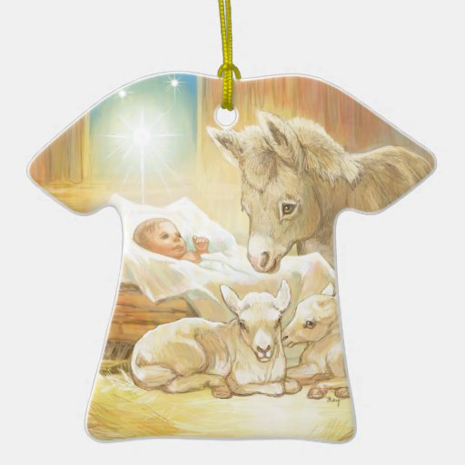 Baby Jesus Nativity with Lambs and Donkey Christmas Ornaments