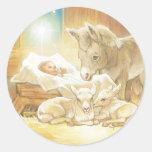 Baby Jesus Nativity with Lambs and Donkey Round Sticker