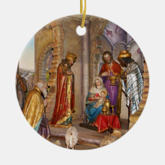 Baby Jesus of Nazareth Born in Bethlehem Round Ceramic Decoration