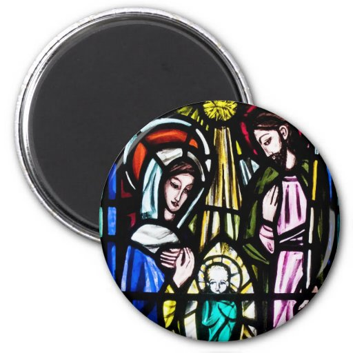 Baby Jesus Stained Glass from St. Michael's Church 6 Cm Round Magnet