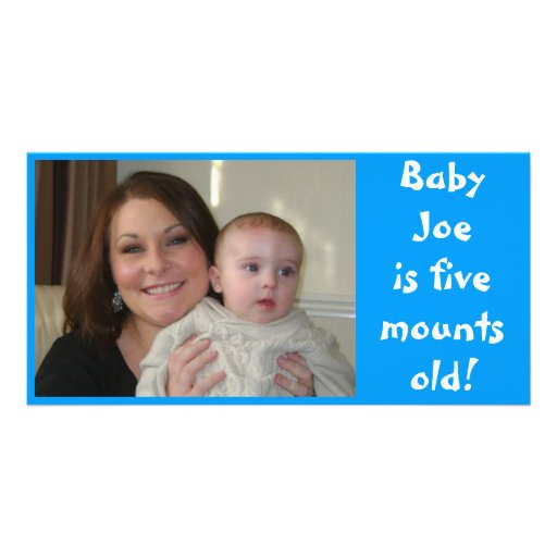 Baby Joe is five months old! Personalised Photo Card