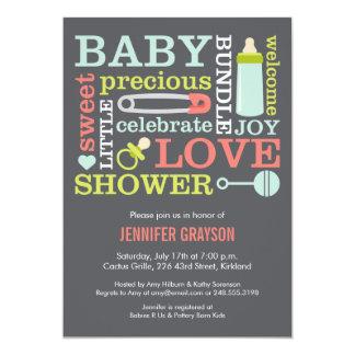 Baby Jumble Baby Shower invitation in Gray