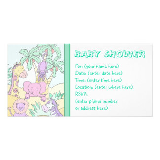 Baby Jungle 13 Baby Shower Personalised Photo Card
