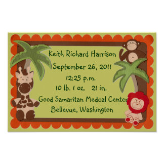 Baby Jungle Animals Birth Statistics Sampler Posters