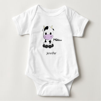 Baby kawaii cow cartoon name baby bodysuit