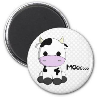 Baby kawaii cow cartoon on polka dots magnet