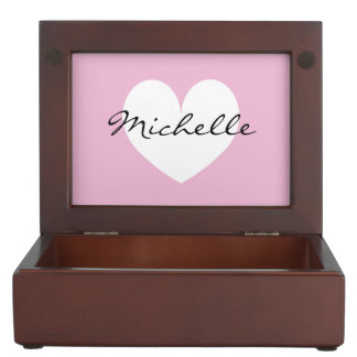 Baby keepsake boxes with heart and custom name