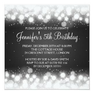 Baby / Kids Birthday Magic Sparkle Black 13 Cm X 13 Cm Square Invitation Card