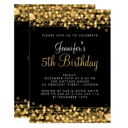 Baby / Kids Birthday Party Sparkles Gold Card