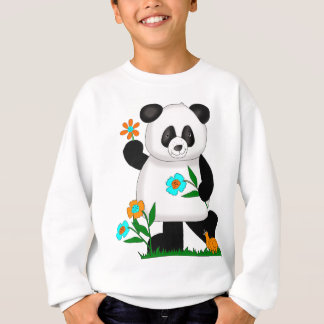 Baby Kids Panda With Flowers 2 Sweatshirt