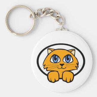 Baby Kitten Cartoon Basic Round Button Key Ring