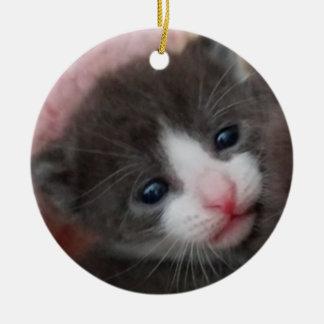 Baby Kitten Ornament Grey & White