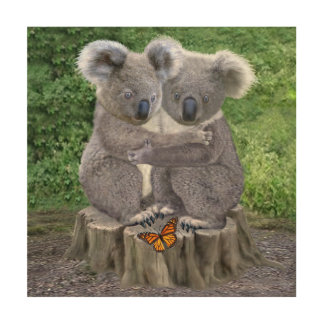 Baby Koala Bear Huggies Wood Print