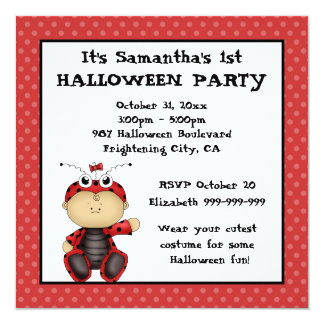 Baby Ladybug First Halloween Party 13 Cm X 13 Cm Square Invitation Card