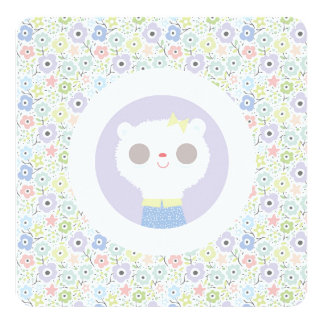 Baby lamb and parma flowers 13 cm x 13 cm square invitation card