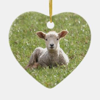Baby Lamb Ceramic Heart Decoration