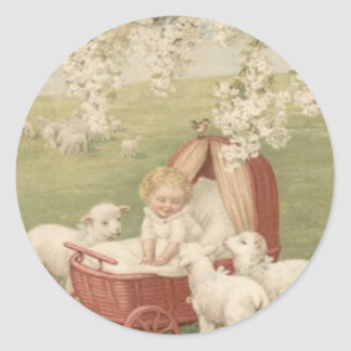 Baby Lamb Dogwood Tree Field Classic Round Sticker