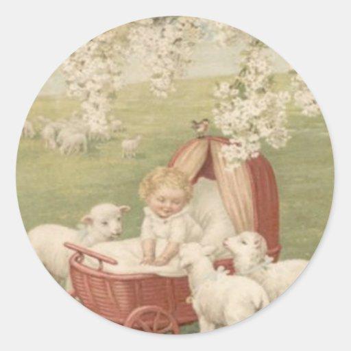Baby Lamb Dogwood Tree Field Round Sticker